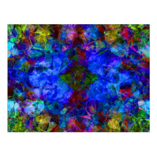Geometric Abstract Bright Blue Post Cards