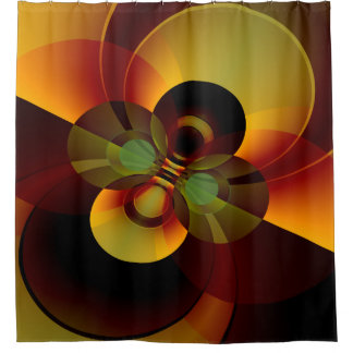 Geometric Abstract Circles Brown and Gold Shower Curtain