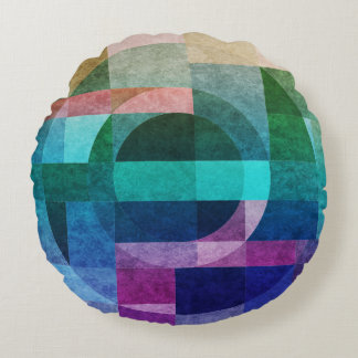 Geometric abstract colourful circle textured round cushion
