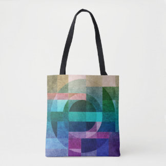 Geometric abstract colourful circle textured tote bag