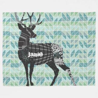 Geometric Abstract Deer Steam Punk Pattern Fleece