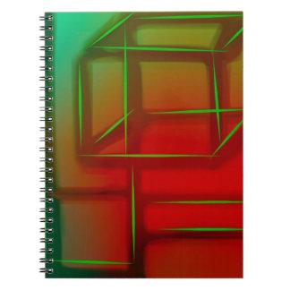 Geometric Abstract Digital Art Spiral Notebook