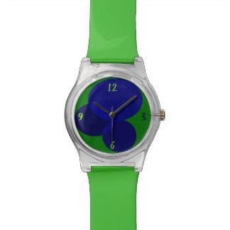 Geometric Abstract Ellipse Modern Green Blue Cool Watch