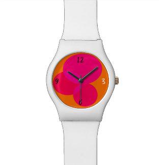 Geometric Abstract Ellipse Modern Pink Orange Neon Watch