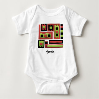 Geometric Abstract Green Red Personified Baby Bodysuit
