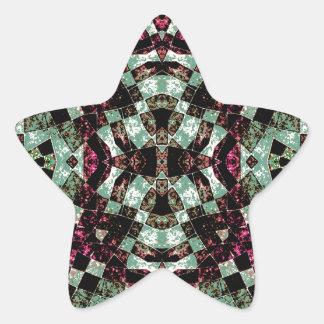 Geometric Abstract Grunge Pattern Star Sticker