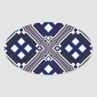 Geometric Abstract Pattern in Blue and White Oval Sticker