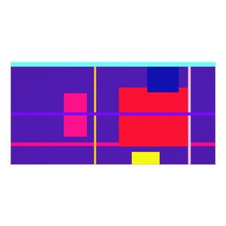 Geometric Abstract Red Square Deep Purple Photo Card