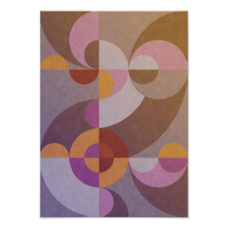 Geometric abstract retro circles in warm colors poster