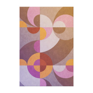 Geometric abstract retro circles in warm colours canvas print