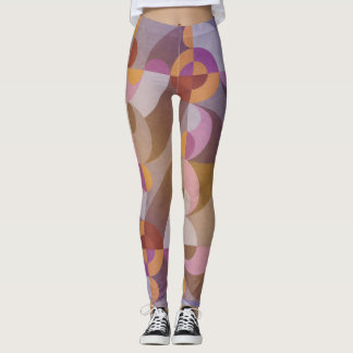 Geometric abstract retro circles in warm colours leggings