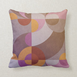 Geometric abstract retro circles in warm colours throw pillow
