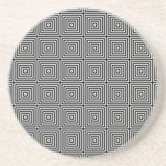 Geometric Abstract Squares in Black and White Coasters