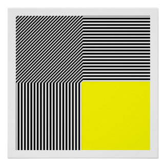 Geometric abstraction, B/W stripes yellow square Poster