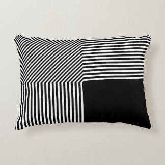 Geometric abstraction, black and white decorative cushion