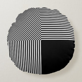 Geometric abstraction, black and white round cushion