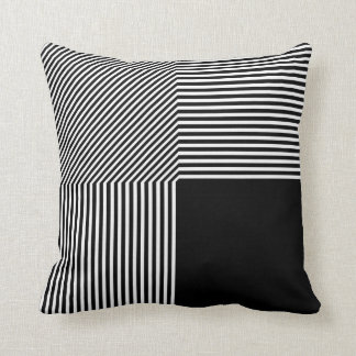 Geometric abstraction, black and white throw pillow
