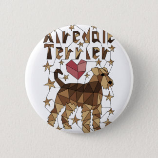 Geometric Airedale Terrier 6 Cm Round Badge