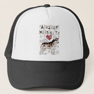 Geometric Alaskan Malamute Trucker Hat