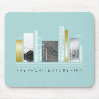 Geometric Architecture Light Teal & Faux Gold Mouse Pad