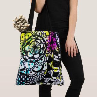 Geometric Art Black White Colorful Graffiti Retro Tote Bag