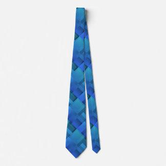 Geometric Art Blue Blocks Tie