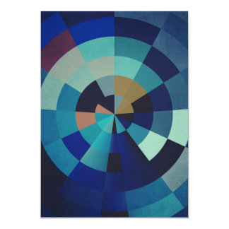 Geometric Art | Blue Circles, Arcs, and Triangles Card