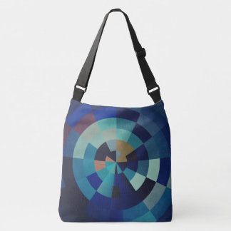 Geometric Art   Blue Circles, Arcs, and Triangles Crossbody Bag