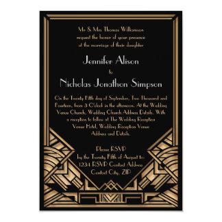 "Geometric Art Deco Gatsby Style Wedding Invites 5"" X 7"" Invitation Card"