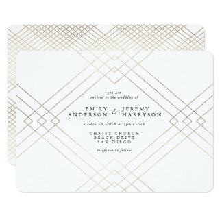 Geometric Art Deco White Gatsby Wedding Invitation