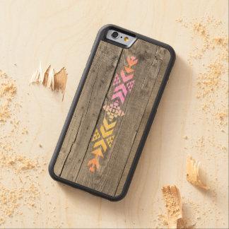Geometric aztec wood pattern carved maple iPhone 6 bumper case