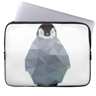 Geometric Baby Penguin Print Laptop Sleeve
