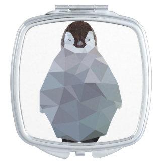 Geometric Baby Penguin Print Makeup Mirror
