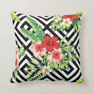 Geometric Background & Colorful Tropical Flowers Throw Pillow