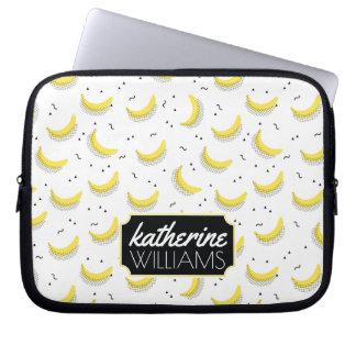 Geometric Bananas   Add Your Name Laptop Sleeves