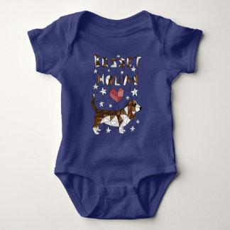 Geometric Basset Hound Baby Bodysuit