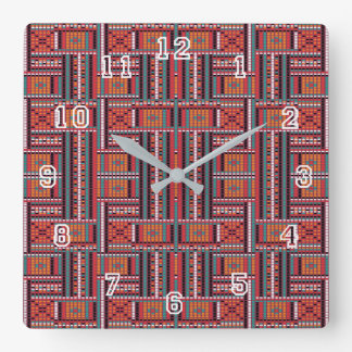Geometric Bead Effect Pattern Ethnic Tribal Look Square Wall Clock