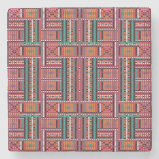 Geometric Bead Effect Pattern Ethnic Tribal Look Stone Coaster