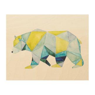 Geometric Bear Animal Wood Wall Art