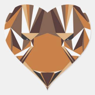 Geometric Bear Heart Sticker