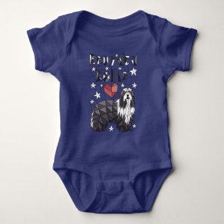 Geometric Bearded Collie Baby Bodysuit