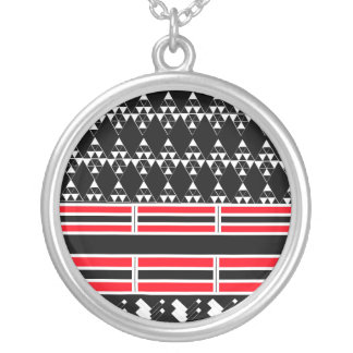 Geometric Black and Red Necklace