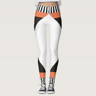 Geometric black and white stripes modern coral leggings