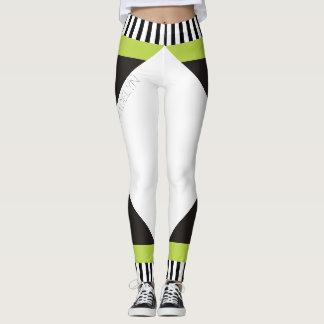 Geometric black and white stripes modern green leggings