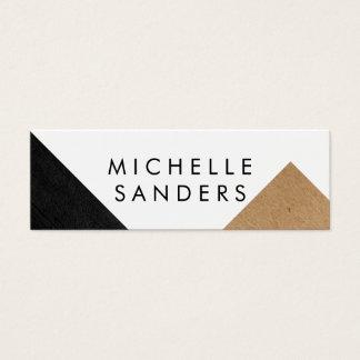 Geometric Black Faux Leather Craft Paper White Mini Business Card