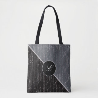 Geometric Black & Gray Monogram Wedding Tote Bag
