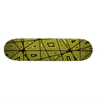 Geometric - Black on Yellow Skate Board Decks