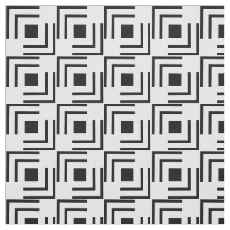 Geometric Black Square Tiles on White Fabric