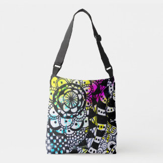Geometric Black White Colourful Graffiti Retro Crossbody Bag