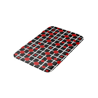 Geometric Black with Red Dots on White Grid Bath Mat